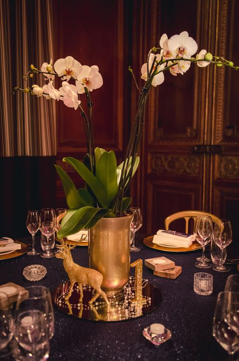 Potted Orchid Centerpieces, Navy Sequin Tablecloths