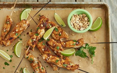 Quick Thai Chicken Skewers with Peanut Coconut Sauce
