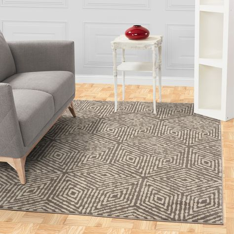 Jasmin Collection Modern Cubes Gray Ivory Area Rug 6 7 X 9 3