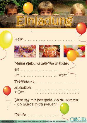 Einladung Für Kinder U2013 Vorlage Kostenlos Zum Ausdrucken | Deutsch  Lernen | Pinterest | Einladung Kindergeburtstag