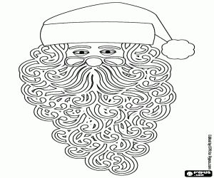 Santa S Head With Glasses And Beard Coloring Page Coloring Pages