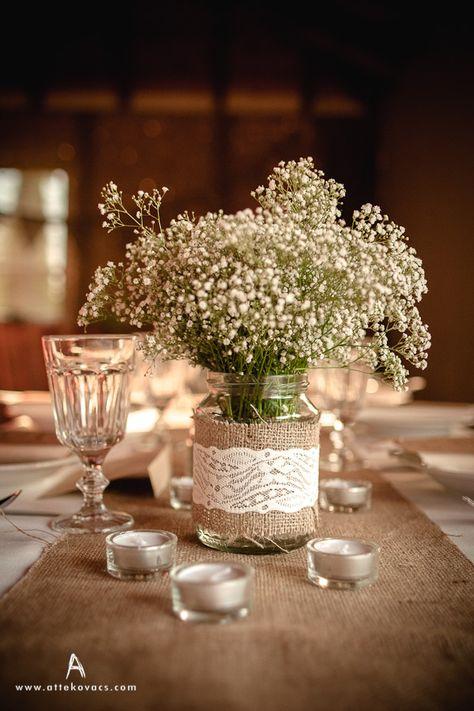 lace, burlap, wedding, bride, groom, rustic, decoration, jar, table, candle, white