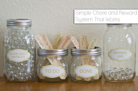 Simple Chore and Reward System: As children complete chores, they move the chore stick to the 'done' jar and place a marble from the 'Good Deeds Marble' jar into the 'Rewards' jar. Once the 'Rewards' jar is full, celebrate your children's good deeds with a new toy, a special meal, day trip to a favorite spot, or any other favorite activity. Additional marbles can be added for good behavior, good deeds, on any time children make a special effort to be helpful or well-behaved.