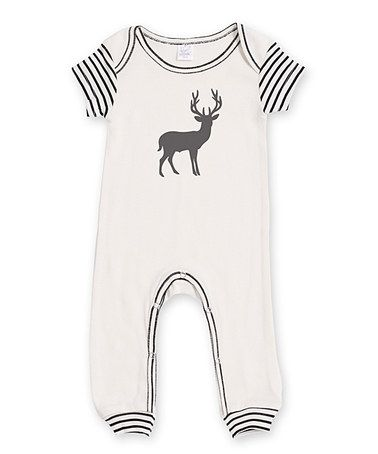 Another great find on #zulily! Ivory & Black Striped Short Sleeve Deer Romper #zulilyfinds