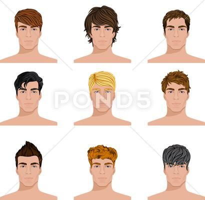 Different Hairstyle Men Faces Icons Set Stock Illustration Ad Faces Men Hairstyle Icons Mens Hairstyles Different Hairstyles Face Icon