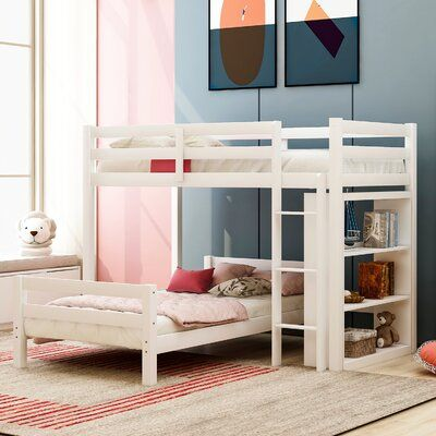 Isabelle Max Crewkerne Twin Over Twin L Shaped Bunk Bed With Shelves Bed Frame Colour White Twin Bunk Beds Bed Shelves Bunk Beds