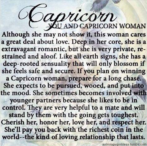 Capricorn Women. I agree except for the younger partner part. I love my men older