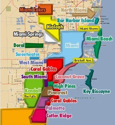 Mapa De Miami Para Quem For Viajar Para Lá Ter Uma Noção De Onde Ficam As Principais Regiões E Praias Da Cidade Miami Mapa O Turista