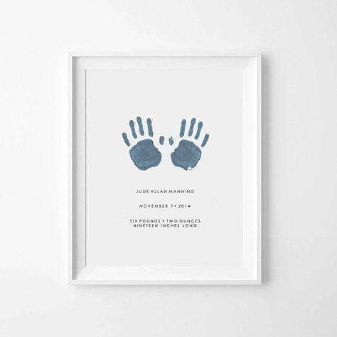 Baby Handprint, Baby Handprint Art, Custom Baby Print, Personalized Baby Print, Baby Handprint Keepsake, Handprint Gift, Custom Baby Gift