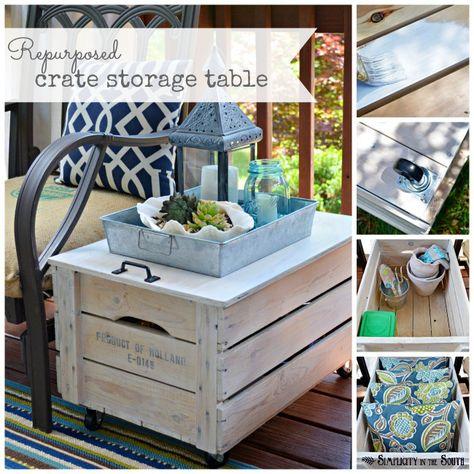 I love this repurposed crat turned storage table! Adorbs!