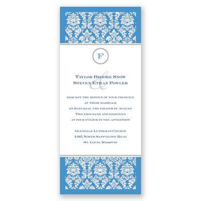 Damask Dazzle Glitter - Cornflower - Invitation | Invitations By David's Bridal
