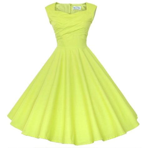 69d709716e0c Maggie Tang 50s 60s Vintage Retro Swing Rockabilly Picnic Party Dress ($40)  ❤ liked on Polyvore featuring dresses, vintage yellow dress, vintage  cocktail ...