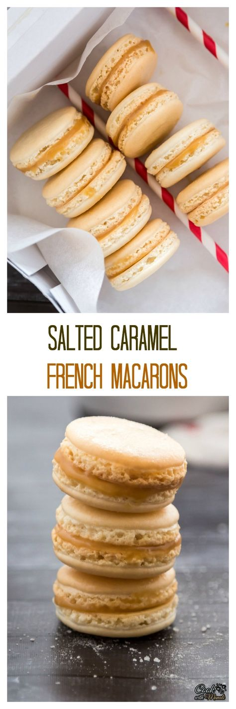 Salted Caramel Macarons - classic french cookies with a salty caramel center! #macarons #cookies #dessert