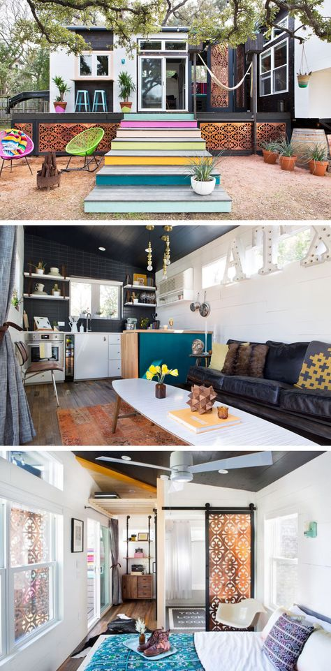 This tiny Texas home, which you may have seen featured on Tiny House Nation, is big on color and design inspiration.