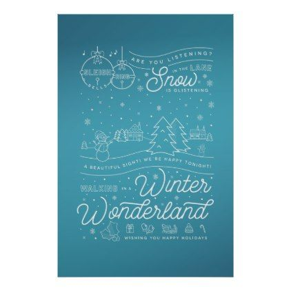 Winter Wonderland Christmas Poster 24x36 Blue Zazzle Com Winter Wonderland Christmas Christmas Poster Christmas Wall Art