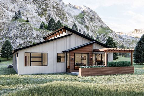 Ranch House Plans, House Floor Plans, House Plans 3 Bedroom, Modern House Plans, Modern Floor Plans, Modern Barn House, Modern Ranch, Cabin Homes, How To Plan