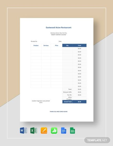 Instantly Download Sample Restaurant Receipt Template Sample Example In Microsoft Word Doc Microsoft Excel Xls Financial Apps Receipt Template Word Doc