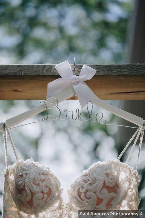Wedding dress ideas - hanger, custom, personalized, bride, lace, details, embellishments {Paul Ragucos Photography}