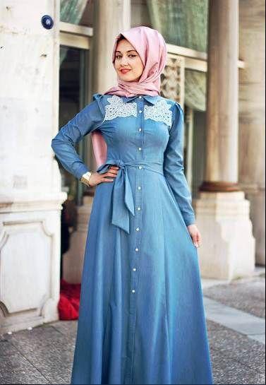 Sefamerve Kot Tesettur Elbise Modelleri Elbise Modelleri Kot Elbiseler Elbise