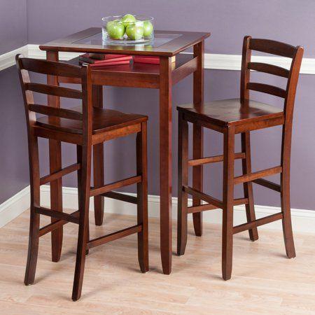 Halo 3 Piece Pub Table Set With 2 Ladder Back Stools Walmart Com Pub Table Sets Pub Table Bar Table Sets