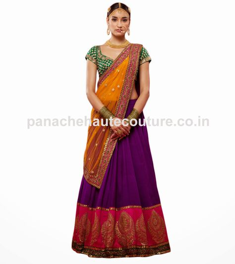 Check out this sabyasachi purple color wedding lehenga choli which is available on sale with best offer. The dupatta of this lehenga is made of yellow net.