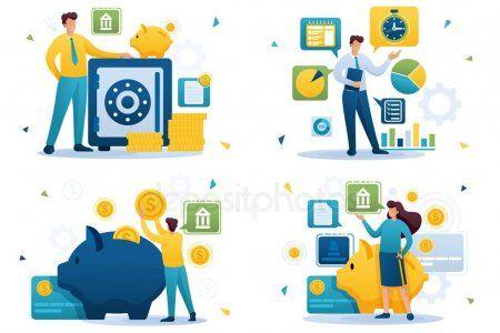 Set Flat 2d Concepts Saving Money Bank Deposits Investment Plan Time Manageme Affiliate Saving Money Concepts S Time Management Saving Web Design
