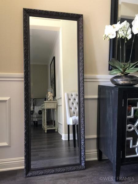 Bella Ornate Embossed Wood Bronze Framed Leaner Floor Mirror In