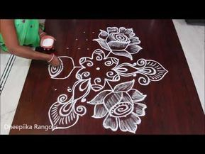 Creative Rose Flower Rangoli Design With 9 5 Dots Ii Simple Kolam For Beginners Ii Rangoli Designs Youtu Rangoli Designs Flower Rangoli Rangoli Kolam Designs