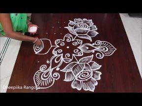 Easy Easy Beautiful Roses Rangoli 9 To 1dots Simple Flower Kolam For New Year Daily Kolam Beautiful Rangoli Designs Easy Rangoli Designs Rangoli Designs