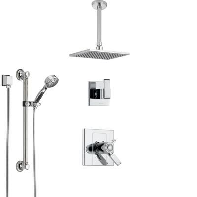 Shower Systems With Ceiling Mounted Rain Showerhead And Hand