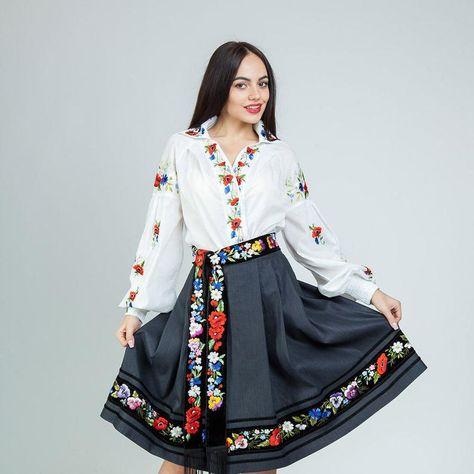 Black skirt in boho embroidered skirt pleated skirt full flared skirt women flared skirt midi skirt