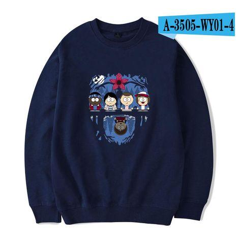 Stranger Things Series Sweatshirt Cartoon Print Long Sleeve Print Pullover, Darkblue-29 / XL