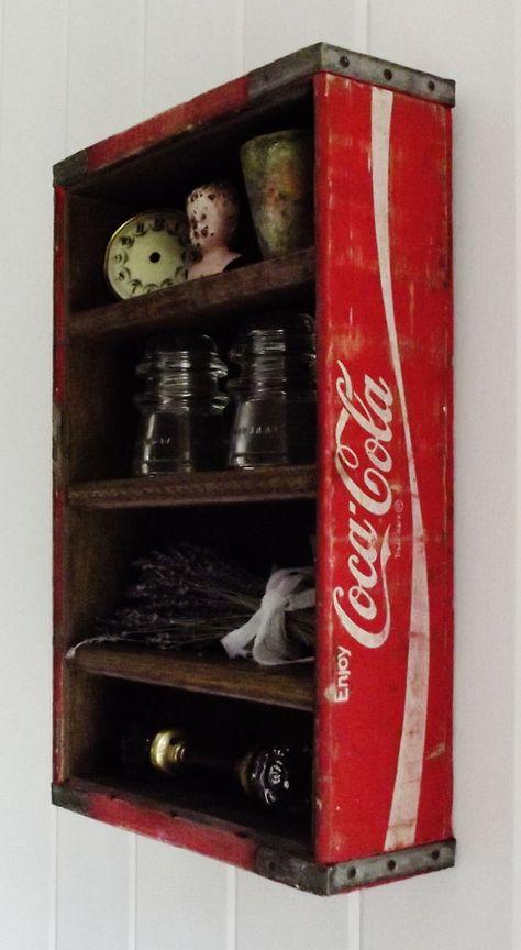 Vintage Wood Coca Cola Display Crate by thepetitemarket on Etsy Vintage Coca Cola, Rustic Furniture, Diy Furniture, Coke Crate Ideas, Coca Cola Decor, Coca Cola Kitchen, Always Coca Cola, Wood Projects, Repurposed
