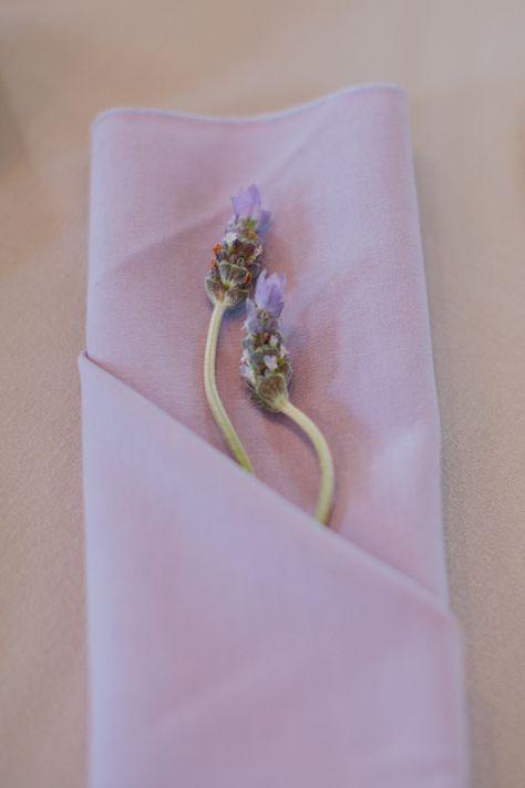 Lavender Sprigs Tucked in Napkin #mintwedding #weddingcolors #lavenderwedding #mintandlavender #wedding #colorpallete #color #weddinginspirations #purplewedding #greenwedding #weddingideas #weddingdecor