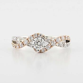 14K White & Rose Gold Round Diamond Engagement Ring, $819.00.