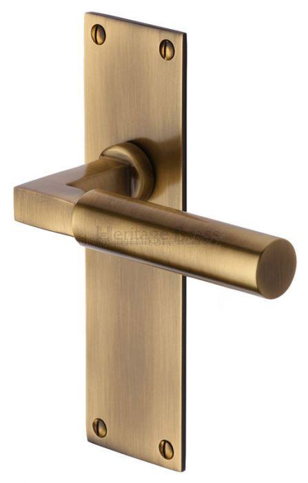 Heritage Bau7310 Antique Brass Bauhaus Latch Handles Brass Door Handles Door Handles Antique Brass Door Handles