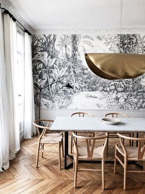 #Dining room #Gorgeous #with #Neutral #wallpaper A little inspiration for the interior ...#dining #gorgeous #inspiration #interior #neutral #room #wallpaper