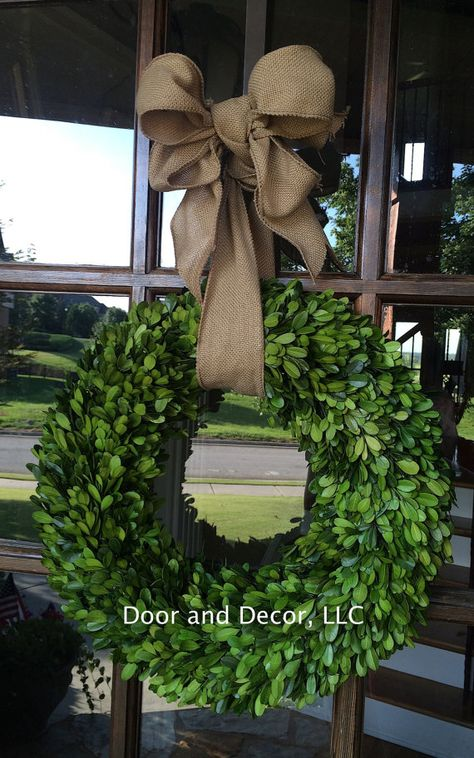 Preserved Boxwood on Wrapped Foam Backing (foam backing 14, 24)(grapevine backing 16, 20)  This beautiful boxwood wreath is made or real boxwood