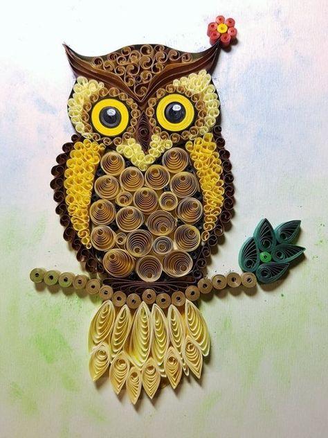 Owl colorful owl handmade art paperwork / #Art #Colorful #handmade #owl #paperwork #QuilledPaperArtbeautiful