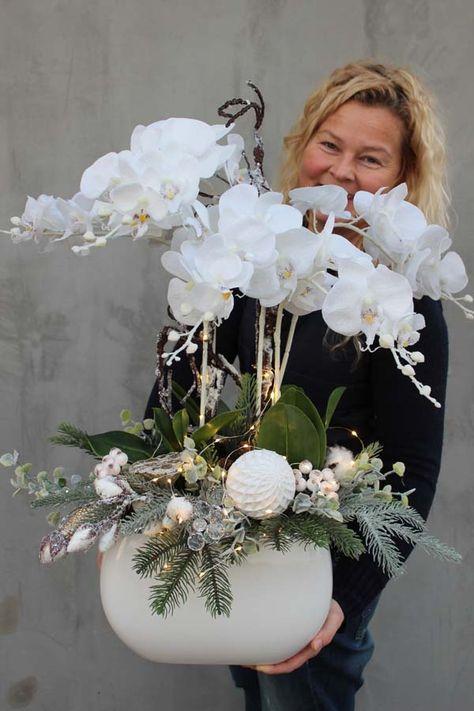 Glamour Winter, zimowy storczyk w białej eleganckiej donicy, wys. 64cm - tendom.pl