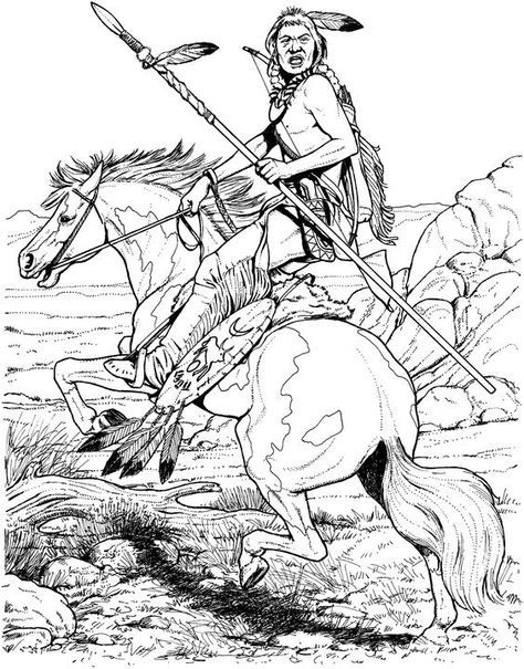 Native American Designs Coloring Pages Native American On Horse Horse Coloring Pages Horse Coloring Animal Coloring Pages