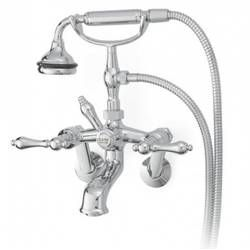 Traditional Wall Mount Tub Faucet With Metal Lever Handles Tub