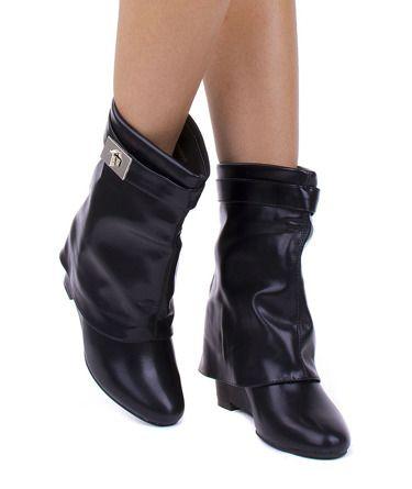 Czarne Ocieplane Kozaki Na Koturnie Eko Skora Given Boots Shoes Wedge Boot