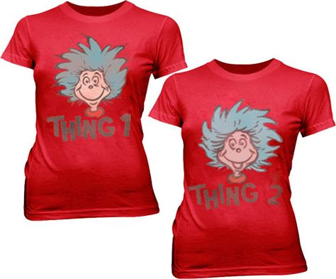 Dr. Seuss Thing 1 or Thing 2 Face Red Juniors T-shirt  $19.95