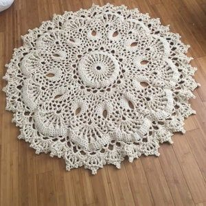Absolutely Stunning Round Rug 84 1 2 In Doily Rug Lavender Color Carpet Shabby Chic Rug For The Living Room By Lacemats Laceemma In 2020 Crochet Rug Patterns Crochet Rug Rug Pattern