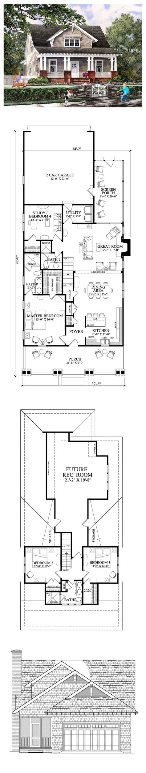 Bungalow House Plan 86121   Total Living Area: 1907 sq. ft., 4 bedrooms & 3 bathrooms. Summer evenings were the best! We'd play for hours while mom relaxed in her favorite spot. To this day, I can still hear the wind off that old frisbee. When I return home, it's like I never left. Memories made while living in our home always make me smile. #bungalow #houseplan