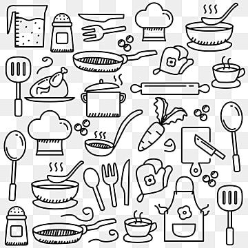 Set Of Cute Cooking Related Doodle Element Food Clipart Cooking Doodle Png And Vector With Transparent Background For Free Download Doodles Sketch Notes How To Draw Hands