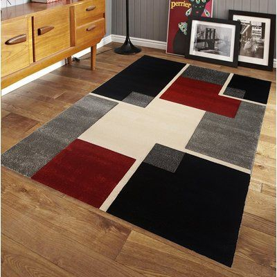 Ebern Designs Speller Luxury Red Black Gray Area Rug Small