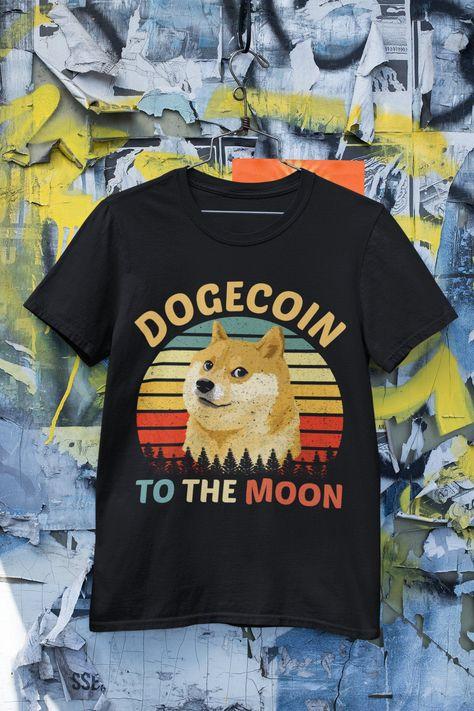 Vintage Retro Dogecoin Shirt-Dogecoin To The Moon Shirt-Shiba Inu Dog Shirt-Doge To the Moon Shirt-Crypto Tees.