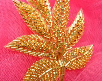 FS140 Fall Leaf Applique Gold Beaded Sewing Motif Patch 4/""